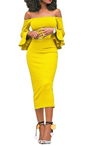 6218beb647b GOSOPIN Women s Off Shoulder Ruffle Bodycon Fit Sexy Midi Dresses ...
